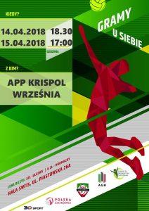 14-15.04.2018 (mecze o 3 miejsce)  I liga mężczyzn AGH Kraków – APP KRISPOL Września