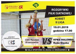 II Liga kobiet 19.01.19 g.17.00 CKiS MARATON Krzeszowice – KPKS Halemba Ruda Śląska