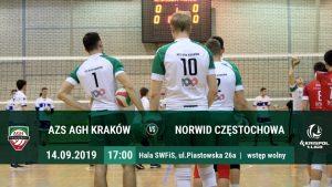 I Liga Mężczyzn 14.09.2019 g.17.00 AZS AGH Kraków – Norwid Częstochowa