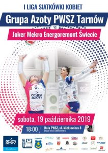 I Liga Siatkówki Kobiet 19.10.2019 g. 18 Grupa Azoty PWSZ Tarnów – Joker Świecie