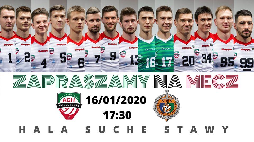 I Liga Mężczyzn 16.01.2020 g. 17.30 AZS AGH Kraków - SPS Chrobry Głogów